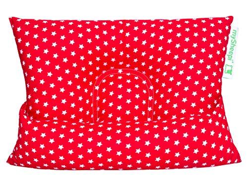 mySheepi Kids 40 x 30 cm - Kinder Schlafkissen mit Schafschurwolle & Variabler Nackenrolle - Motiv Sterne