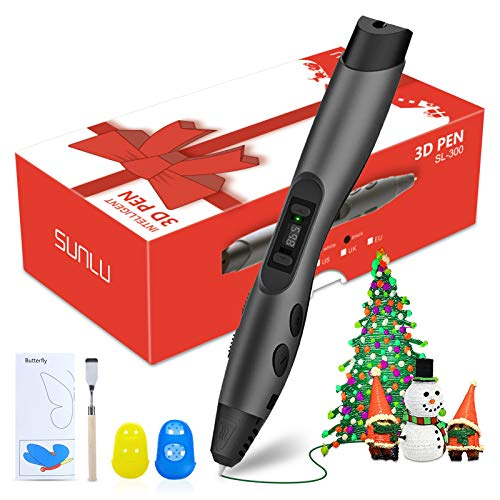 3D Pen, Intelligent 3D Printing Pen with LED Display, 3D Drawing Stencils, 8 Speed Printing & Temperature Control, Best Holiday Gifts Perfect Arts Crafts Gift for Kids & Adults (Black)