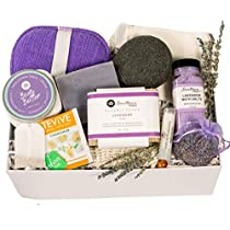 Luxurious Lavender Spa Gift for Her - Self Care Gift Set With Large Organic Soap Bar, Bath Salts, Body Butter, Konjac Sponge, Lip Balm, Tea - Gift for Her Self-Care