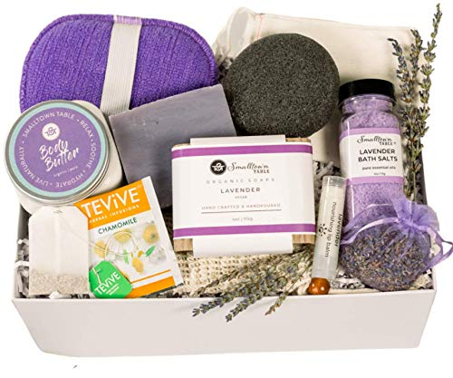 Luxurious Lavender Spa-Mothers Day Gift Set-At Home Self Care Gift Set With Large Organic Soap Bar, Bath Salts, Body Butter, Konjac Sponge, Lip Balm, Tea - Gift for Her Self-Care