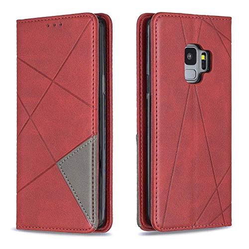 NBKASE Coque Galaxy S9, Premium Ultra Fine PU Cuir de Protection Flip Portefeuille Étui Housse pour Samsung Galaxy S9, avec Fentes de la Carte, Rouge