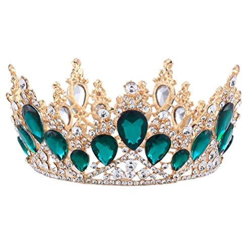 Frcolor Diadème baroque en cristal pour mariée Vert