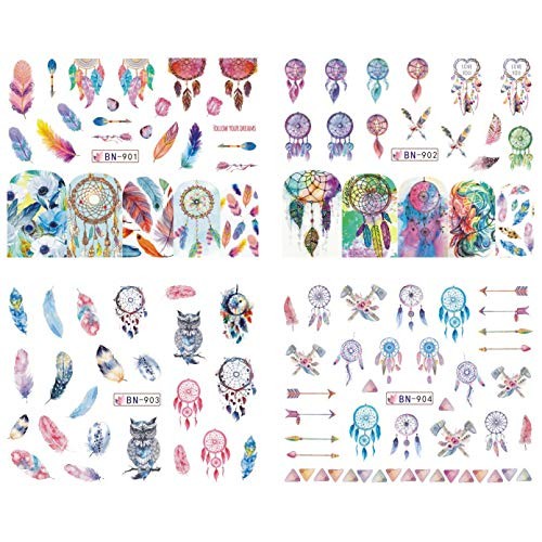Nail sticker 12 Patterns Dreamcatcher Water Stickers Set Feather Owl Color Nail Art Transfer Decals Tips Watermark Slider Manicure