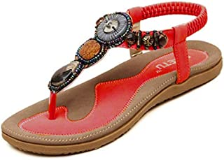 Nevera Ladies Flip-Flops Bohemian Elastic Strappy Thong Ankle Strap Sandals for Women