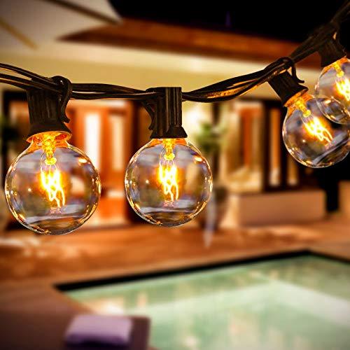 Lichterkette Außen Lichterkette Glühbirnen Aussen Innen 9.5M 25+3 Birnen Lichterkette G40 Warmweiß Halloween für Garten Terrass Weihnachten Hochzeit Balkon Pavillon Party