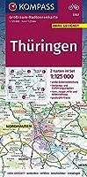 KV GRK 3707 Thueringen 1:125 000 LZ 2021 - 2025: Grossraum-Radtourenkarte 1:125000, GPX-Daten zum Download