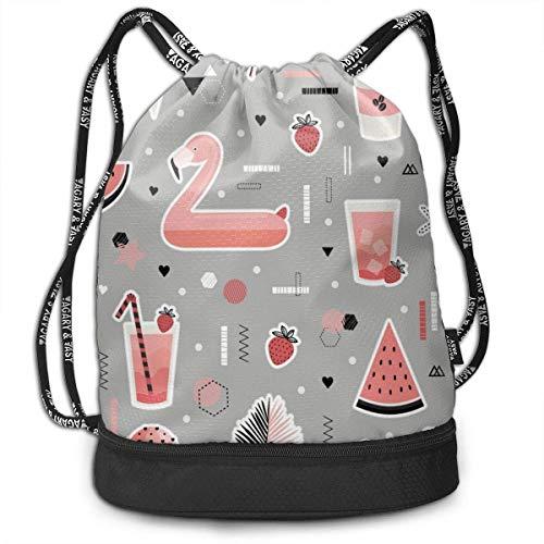 wwoman Mens Women Drawstring Bag Diebstahlsicher Lightweight Beam Bag, Reisen Schulter Rucksack - Früchte Getränke Flamingo Wasserdicht Rucksack Fußball Basketball Bag