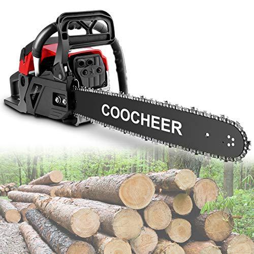 20 Inch Chainsaw, 58CC Gas Powered Chainsaw 2 Stroke Bar Power Chain Saws Handheld Cordless Petrol Gasoline Chain Saw for Cutting Wood Outdoor Garden Farm Home Use (Orange)