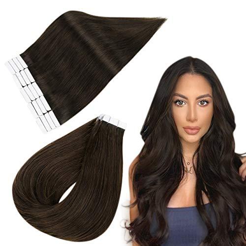 Easyouth Extensions de Cheveux Humains Couleur Marron le plus Foncé Skin Weft Hair Extensions 100% Real Human Hair Double Sided Taped Extensions 20pou