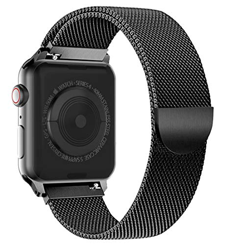 BRGコンパチブルapplewatchバンド,ミラネーゼループコンパチブルアップルウォッチバンドコンパチブルアップルウォッチ4コンパチブルapplewatchseries4/3/2/1に対応ステンレス留め金製(42mm/44mm,ブラック)