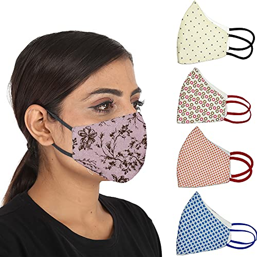 PRIVIU Essentials 100% Cotton Face Mask (Pack of 5)   Designer Mask...