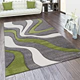 Paco Home Tappeto di Design Moderno, Astratto, con Look a Onde, Taglio Sagomato, in Diversi Colori e Misure, Dimensione:60x110 cm, Colore:Verde