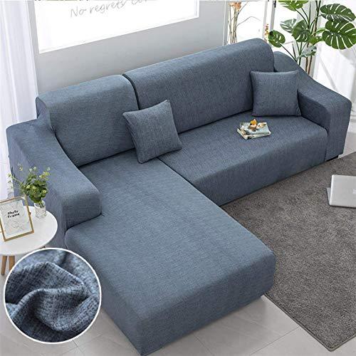 Forma de L necesita orden 2 piezas de sofá Cubierta de algodón Elástico Slotches Fundas de la esquina Sofá seccional de la esquina para la sala de estar (Color: Color 26, Especificación: 3seater y 3se