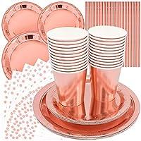 cisolen 96 pezzi stoviglie per feste oro rosa set di stoviglie usa e getta piatti tovaglioli cannucce bicchieri di carta per matrimoni compleanni (24 ospiti)