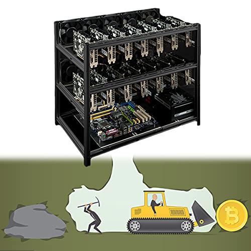 YCRD Bitcoin-Mining-Rack, Stapelbarer Open-Mining-Rig-Rahmen mit 12 GPU-Rahmen, stapelbar, Dual Power Position, leicht zu bewegen zum Schutz von GPU und elektronischen Geräten,Black 14 Cards