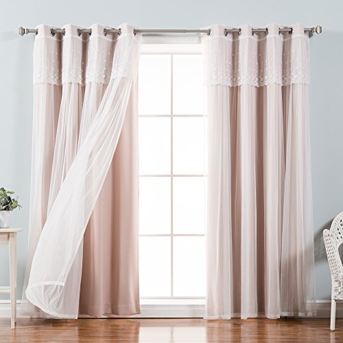 Best Home Fashion uMIXm Tulle Sheer with Attached Valance & Solid Blackout 4 Piece Curtain Set – Stainless Steel Nickel Grommet Top – Dusty Pink – 52