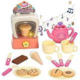 Juguetes Juego de té, horno juego de simulación con luz y sonido, 20 piezas Juego de té para niños con galleta de tarta de crecimiento lento cocina educativa juegos de cocina