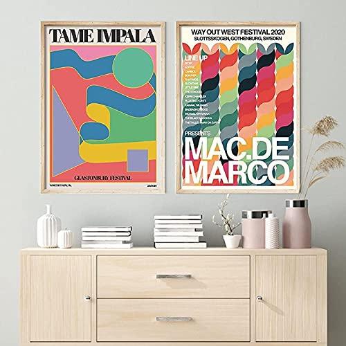Cuadros del cartel 3 40x60 cm sin marco tame impala cartel negro clave color retro pintura de la pared sala de estar decoración del hogar pintura de la lona