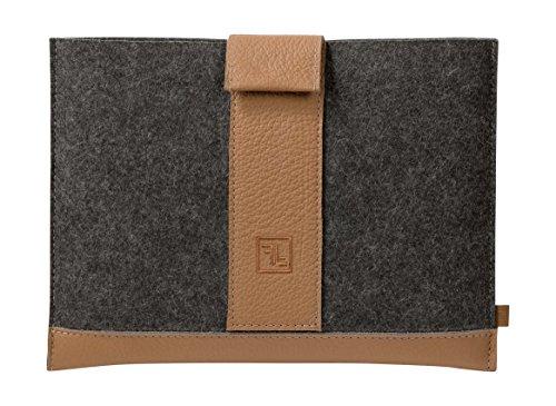 Fine vilt netbook-tas NT van merinowolvilt en leer voor apparaten tot 12 inch antraciet melange/brandy