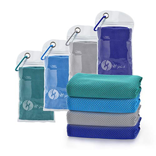 """U-pick 4 Packs Cooling Towel (40""""x 12""""), Ice Towel,Microfiber Towel,Soft Breathable Chilly Towel for Yoga,Sport,Gym,Workout,Camping,Fitness,Running,Workout&More Activities (4 Color Collection-D)"""
