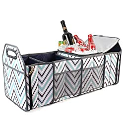 top 10 cute trunk organizer Trunk Organizer with Insulated Cooler Bag – Folding Storage Basket for Front or Rear Seats…