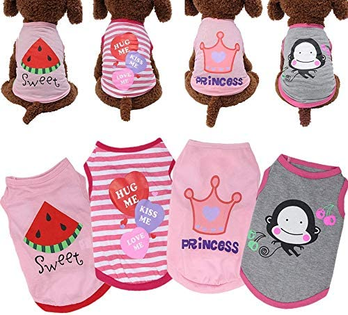 Yikeyo Set of 4 Dog Clothes for Small Dogs Girl Yorkie Chiuahaha Shih tzu Cute Puppy Clothes product image