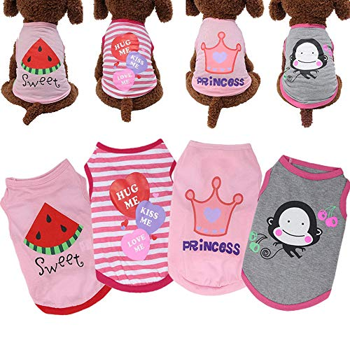 Yikeyo Set of 4 dog shirts for small medium dogs - xs dog clothes - dog outfits for small dogs - xs puppy clothes girl - chihuahua clothes - dog tshirt - ropa para perros pequeños - Summer dog clothes