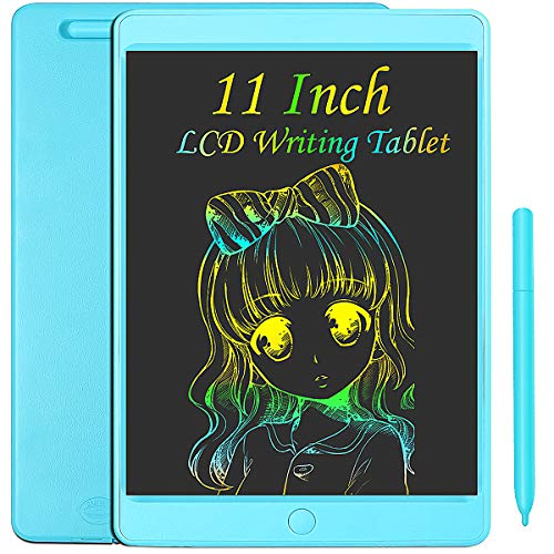 JOEAIS Tableta de Escritura LCD Color 11 Pulgadas Doodle Tabler de Escritura electrónica Tablero de Dibujo Digital Tableta de Dibujo gráfico Adecuado para niños, hogar, Escuela, Oficina(Azul claro)