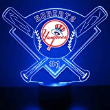 Yankees Baseball Sports Fan Lamp / Night Light - LED - Personalize for Free - Featuring Licensed Decal