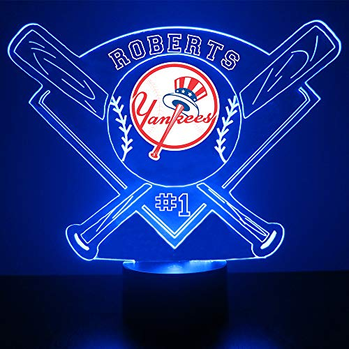 Yankees Baseball Sports Fan Lamp/Night Light - LED - Personalize for Free - Featuring Licensed Decal