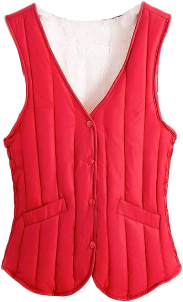Women V-Neck Padded Waistcoat Autumn Bodysuit Vest Winter Warm Quilted Vest Sleeveless Jacket,Red