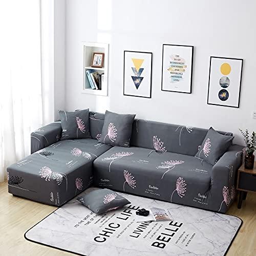WXQY Funda de sofá con Estampado de Hojas Verdes a Rayas Rosa, Funda de protección para Muebles, Funda de sofá de Estilo Moderno y Bonito A7 de 3 plazas