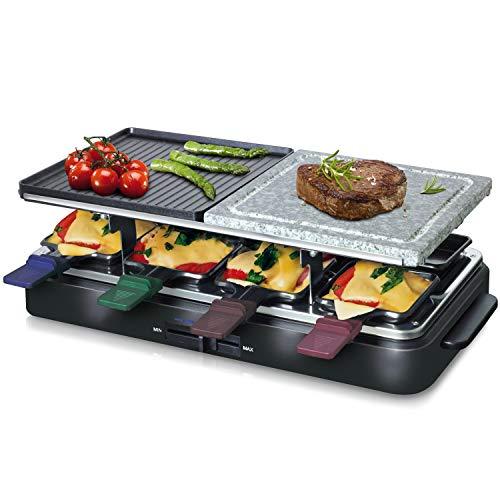Linsar Raclette Grill mit 8 Pfännchen und Schiebern, Granit-Grillstein und wendbarer Grillplatte