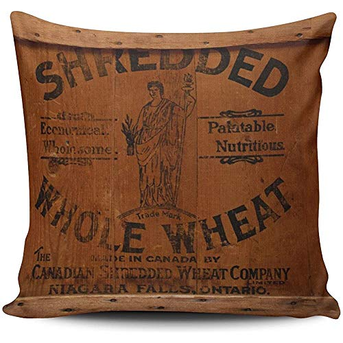 WHEYT Funda de Almohada Caja de envío de Madera Vintage Foto Industrial Chic Euro Square Throw Pillow Cover Funda de cojín 55X55 Cm