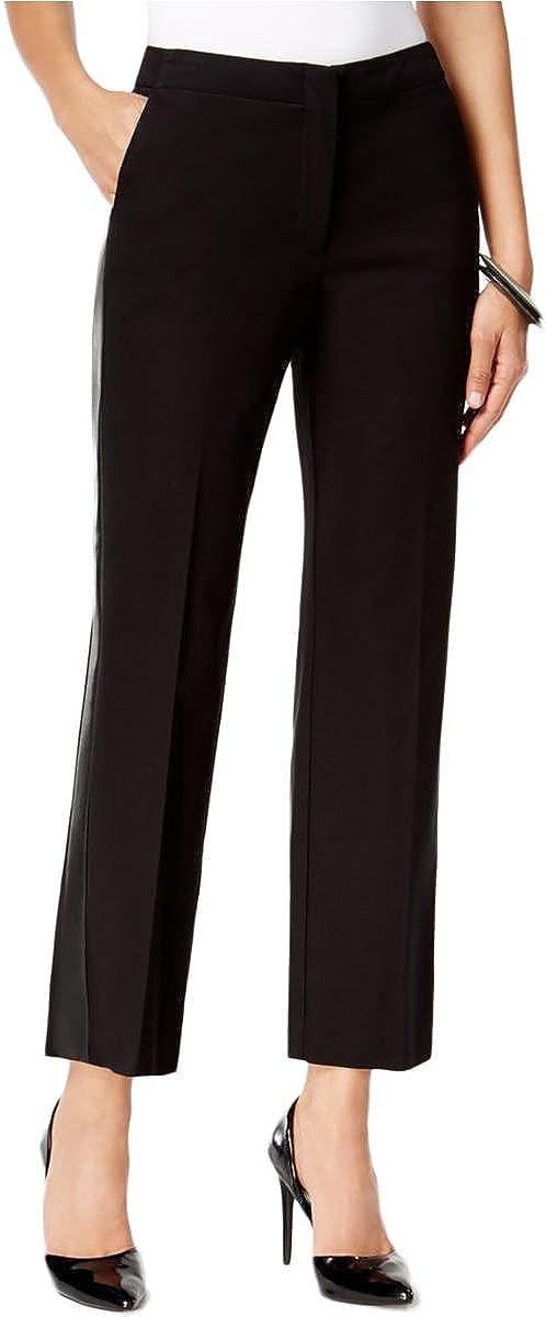 Alfani Womens Faux Leather Crop Casual Pants Black 2
