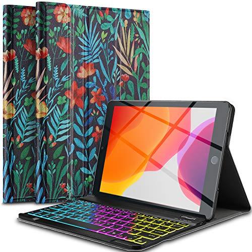 IVSO Beleuchtete Tastatur Hülle für iPad 10.2 2019, [QWERTZ Deutsches], Ultradünn Ständer Schutzhülle magnetisch abnehmbar 7-farbigen Beleuchtung Tastatur für iPad 10.2(iPad 7. Generation), CH-34