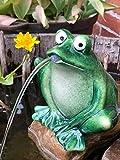 Gartenzaubereien Wasserspeier Frosch dunkelgrün, Keramik