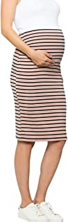 Women's Comfort Stretch High Waisted Tummy Control Cotton Blend Midi Maternity Pencil Skirt