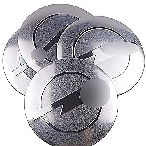 4 Piezas Tapas Centrales Sticker para Opel Astra H G J Corsa Insignia Antara Meriva Zafira 56mm, Tapacubos de Cromado para ProteccióN Con Prueba Agua Polvo Accesorios Partes