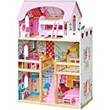 Pidoko Kids Wooden Dollhouse - Doll House Includes 18 pcs Furniture Accessories