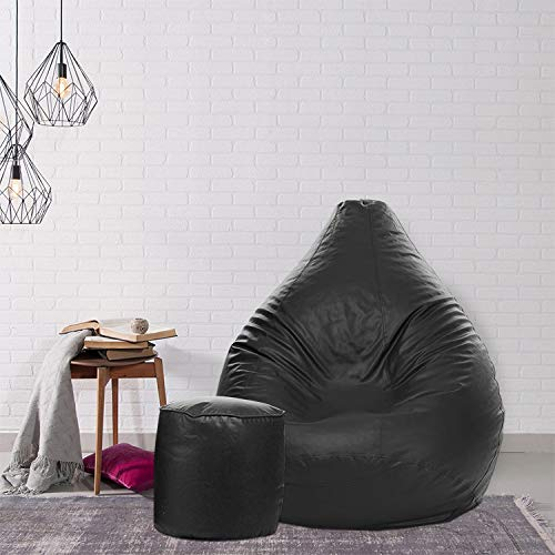 Urban Wood Classic XXXL Bean Bag with Footrest Filled with Beans (Black)