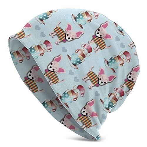Teacup Chihuahua Cute Winter Fashion Beanie Hat Gorro de urinario inocente para Adultos Calientes