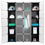 Finether 20 Cube Armoire Penderie Motif de Fleur Bouclé Noir Storage Modulable Meuble Étagères de Rangement DIY avec...