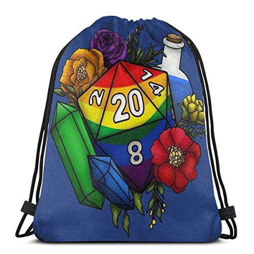 WH-CLA Cinch Bags Pride Rainbow D20 Tabletop Rpg Gaming Dice Durable Print Drawstring Backpack Anime Gym Bag Fitness Unique Lightweight Gift Casual Travel Birthday Outdoor Sport Cinch Bag