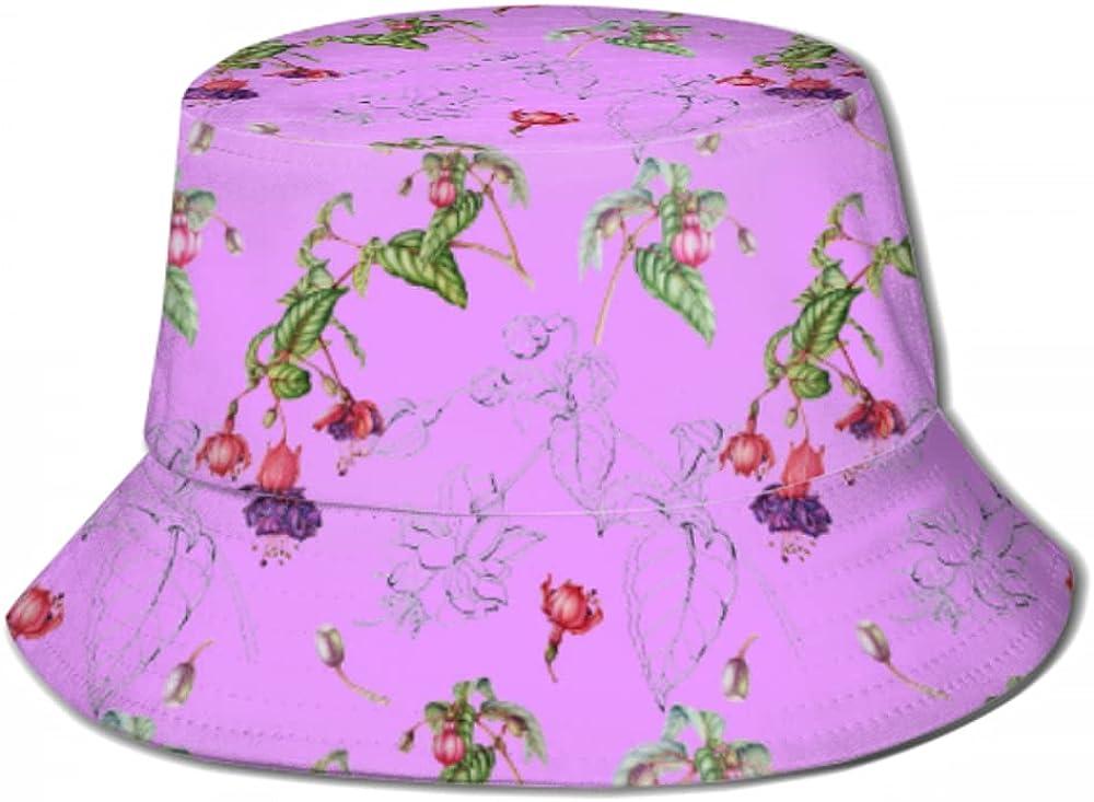Sun Cap Pattern Twigs Flowers Fuchsia Hat for W Super beauty product restock quality top Men Store Bucket