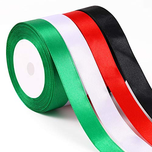 4 Rolls Ribbon Satin Silk Solid Color Fabric Ribbon Rolls for Independence Day Party, Wedding Decoration, Garden Decoration, 4 Colors (Red, White, Green, Black,4/5 Inch x 24 Yards)