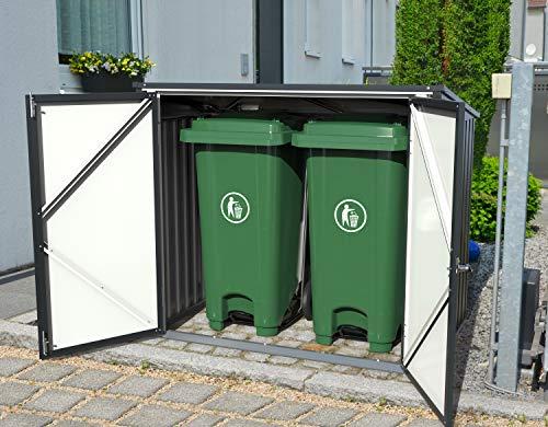 Tepro Mülltonnenbox, anthrazit / weiß, 154.2 x 96 x 130.5 cm - 2