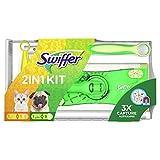 Swiffer Juego de mopa con 8 paños de suelo para el polvo y 1 mango con 1 paño magnético, pack con 1 pieza