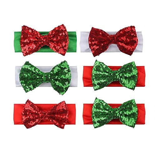 chaosong shop 6 unids Navidad bebé niña diademas elásticas suave turbante bebé arco diademas diadema accesorios para el cabello para niños