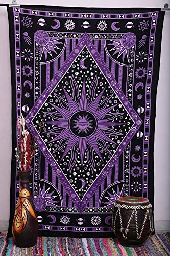 Jaipur Handloom Purple Burning Sun Tapestry, Celestial Sun Moon Planet Bohemian Tapestry Tapestry Tapestry Wall Hanging Tapestry Hippie Tapestry Beach Coverlet (Twin (54 X 84 inches Approx, Purple)
